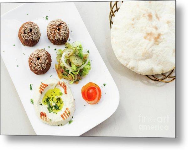 Falafel Hummus Houmus Starter Snack Food Mezze Platter Metal Print