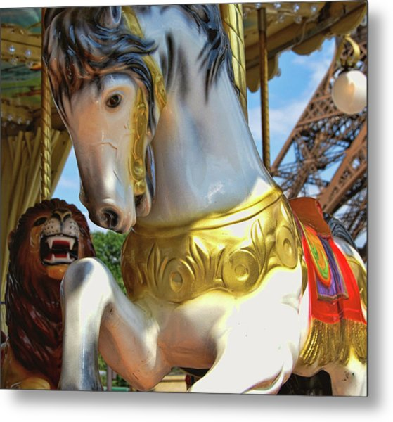 Flying Paris Horses  Metal Print by JAMART Photography