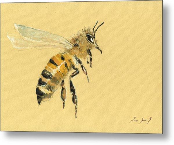 Honey Bee Watercolor Painting Metal Print