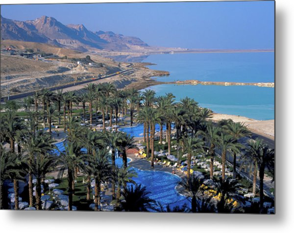 Luxury Resort On The Dead Sea Metal Print by Carl Purcell