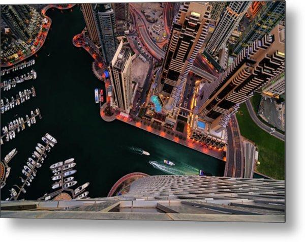 Majestic Colorful Dubai Marina Skyline During Night. Dubai Marina, United Arab Emirates. Metal Print