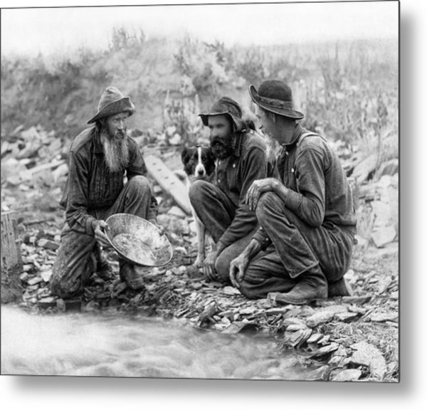 3 Men And A Dog Panning For Gold C. 1889 Metal Print