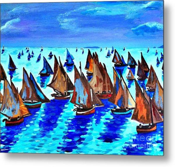 Monet Fishing Boats Calm Seas Metal Print