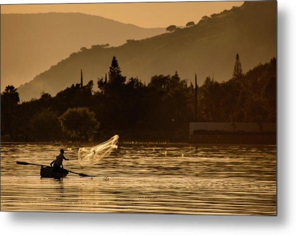Net Fishing At Sunset Metal Print by Dane Strom