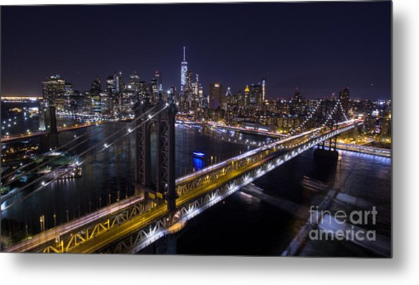 New York City, Manhattan Bridge At Night Metal Print