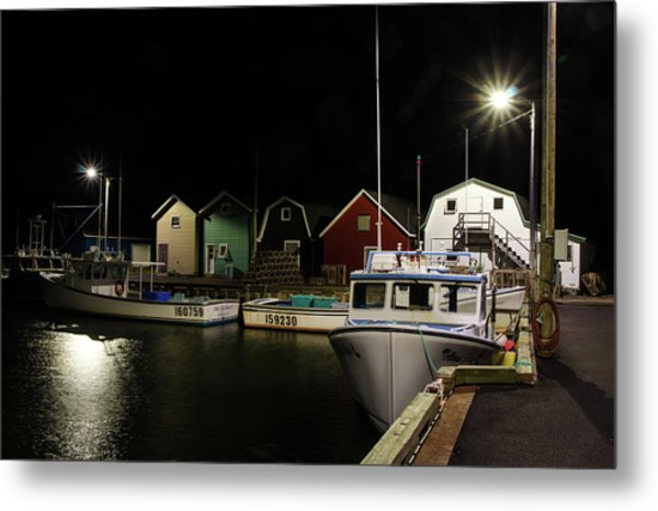 Metal Print featuring the photograph Nighttime On The Wharf. by Rob Huntley