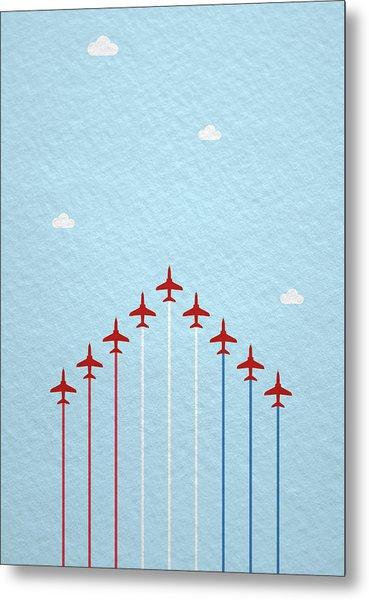 Raf Red Arrows In Formation Metal Print