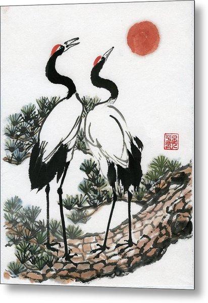 Red Crowned Crane Metal Print