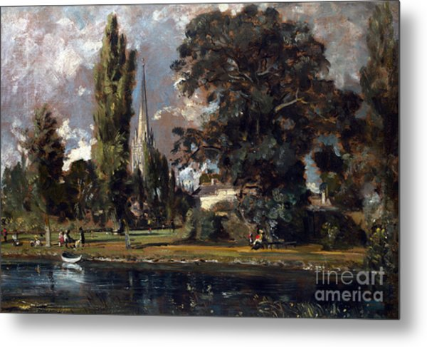 Salisbury Cathedral And Leadenhall From The River Avon Metal Print