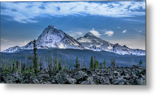3 Sisters Of Oregon Cascades Metal Print