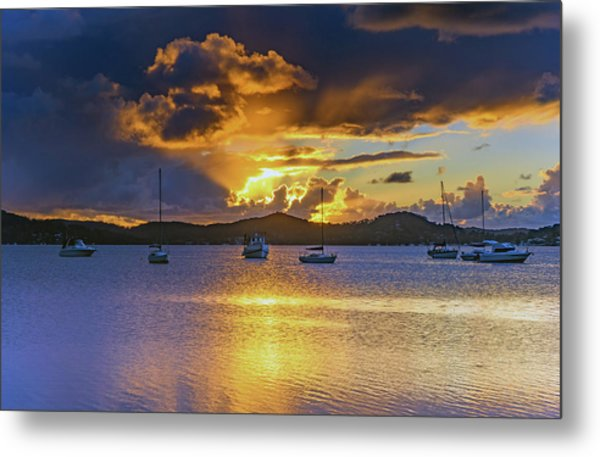 Sunrise Waterscape With Clouds And Boats Metal Print