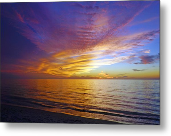 Sunset At Delnor Wiggins Pass State Park In Naples, Fl Metal Print