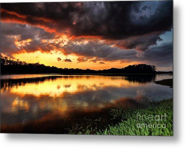 Sunset Reflections Metal Print by Rick Mann