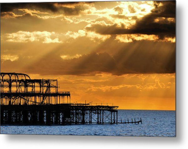 The West Pier In Brighton At Sunset Metal Print