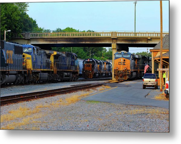 3 Train Meet In Monroe Metal Print by Joseph C Hinson Photography