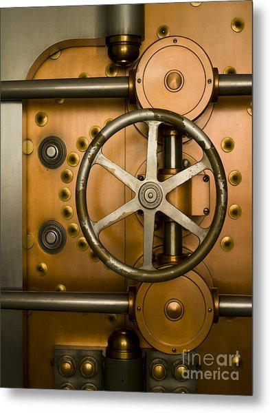 Tumbler On A Vault Door Metal Print by Adam Crowley