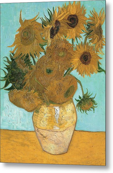 Metal Print featuring the painting Vase With Twelve Sunflowers by Vincent Van Gogh