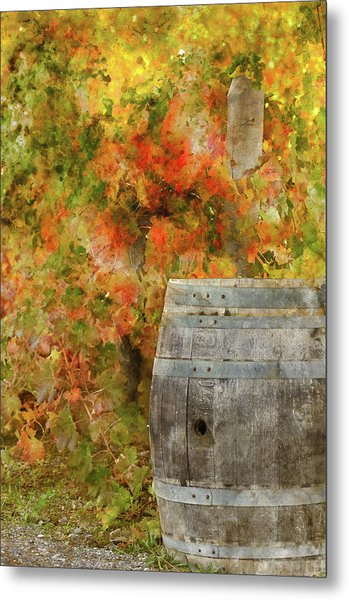 Wine Barrel In Autumn Metal Print