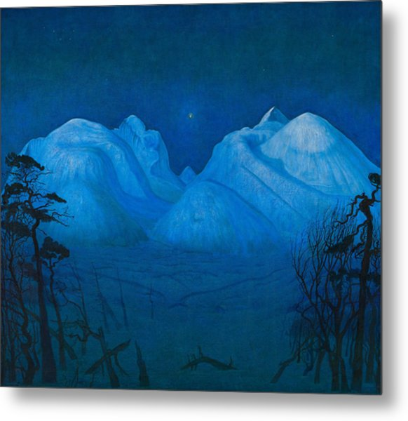 Winter Night In The Mountains Metal Print