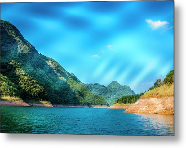 The Mountains And Reservoir Scenery With Blue Sky Metal Print