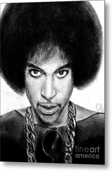 3rd Eye Girl - Prince Charcoal Portrait Drawing - Ai P Nilson Metal Print