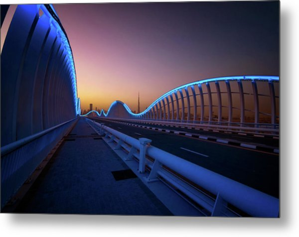 Amazing Night Dubai Vip Bridge With Beautiful Sunset. Private Ro Metal Print