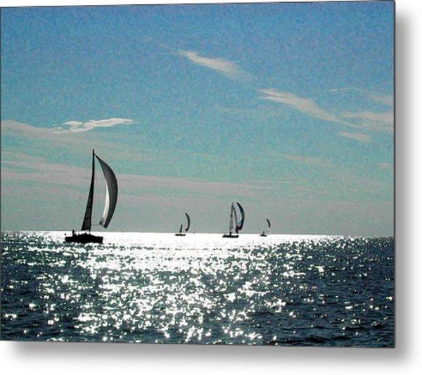 4 Boats On The Horizon Metal Print