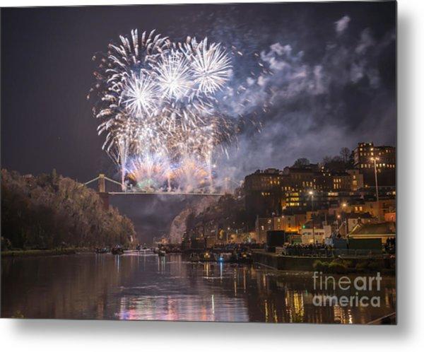 Clifton Suspension Bridge Fireworks Metal Print
