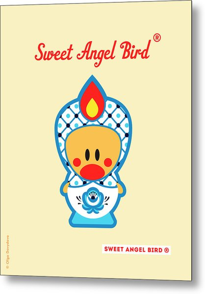 Cute Art - Blue And White Flower Folk Art Sweet Angel Bird In A Nesting Doll Costume Wall Art Print Metal Print