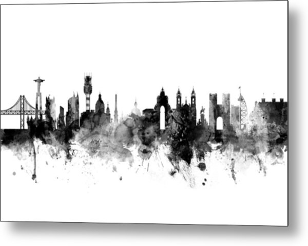 Lisbon Portugal Skyline Metal Print