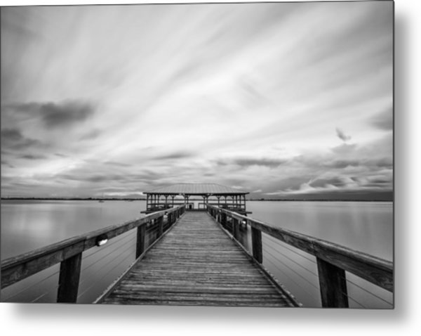 Melbourne Beach Pier Sunset Metal Print