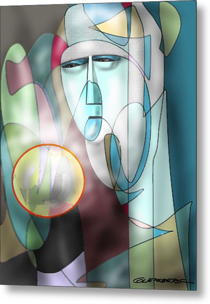 Nun Peering Into Crystal Ball Metal Print
