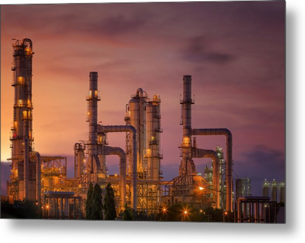 Oil Refinery At Twilight Sky Metal Print