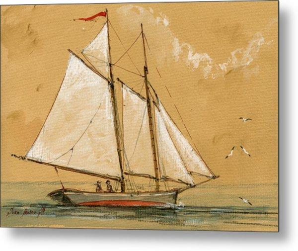 Sail Ship Watercolor Metal Print
