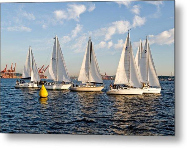 Sailboat Race Metal Print by Tom Dowd