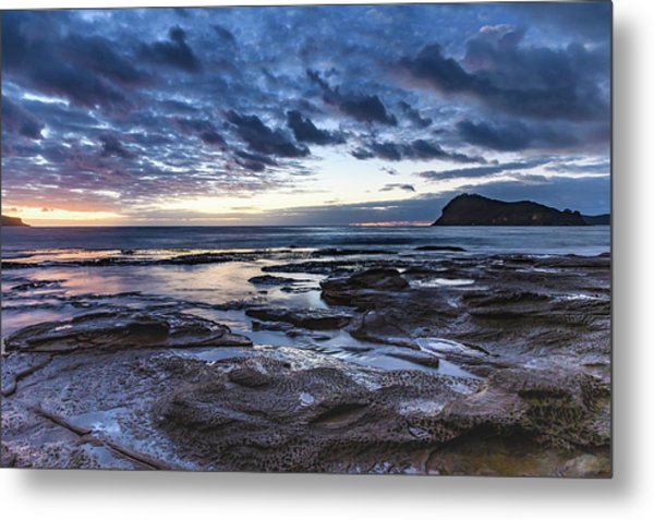 Seascape Cloudy Nightscape Metal Print
