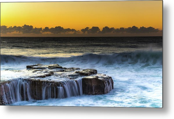 Sunrise Seascape With Cascades Over The Rock Ledge Metal Print