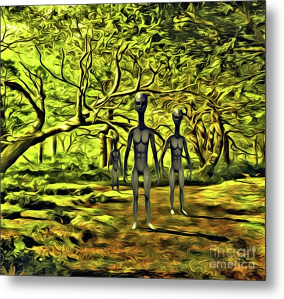 The Aliens Are Here Metal Print