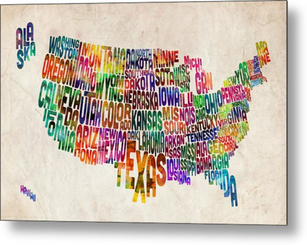United States Text Map Metal Print by Michael Tompsett