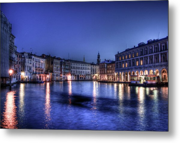 Venice By Night Metal Print
