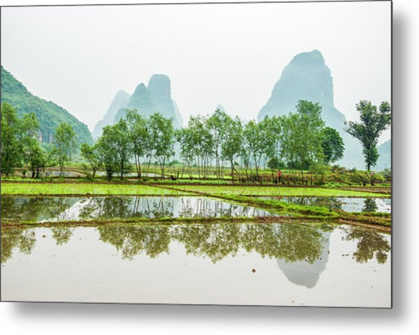 Karst Rural Scenery In Spring Metal Print