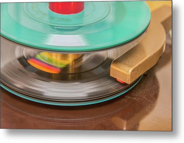 45 Rpm Record In Play Mode Metal Print