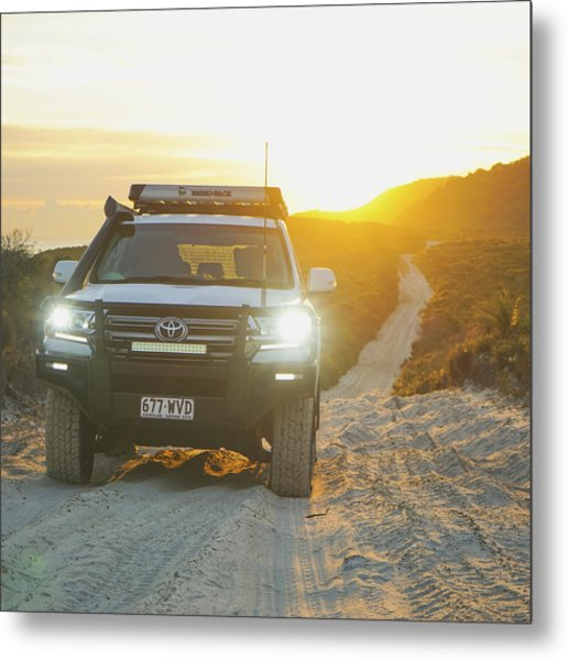 4wd Car Explores Sand Track In Early Morning Light Metal Print