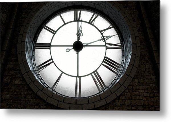 Antique Backlit Clock Metal Print