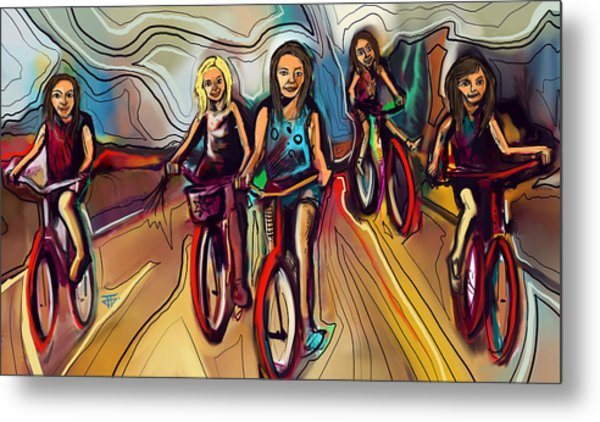 5 Bike Girls Metal Print