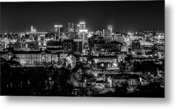 Metal Print featuring the photograph Birmingham Alabama Evening Skyline by Alex Grichenko