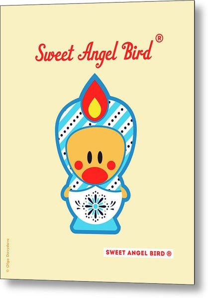 Cute Art - Blue And White Snowflake Folk Art Sweet Angel Bird In A Matryoshka Doll Costume Wall Art Print Metal Print