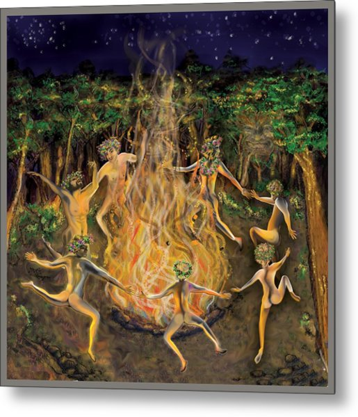 Metal Print featuring the painting Dancing Naked In The Forest Cd Cover by Thomas Lupari