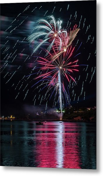 Fireworks Over Portland, Maine Metal Print