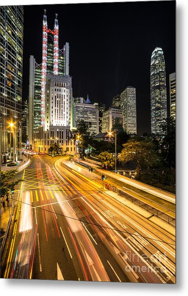 Hong Kong Night Rush Metal Print